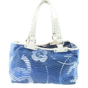 Chanel Camellia Beach Blue Striped Tote 165971